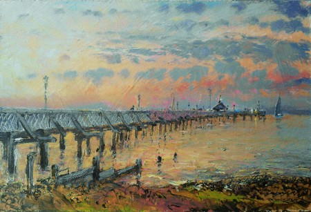 JOHN-DONALDSON---YARMOUTH-PIER-6-x-9-sunset-over-the-Solent-Yarmouth-Isle-of-Wight