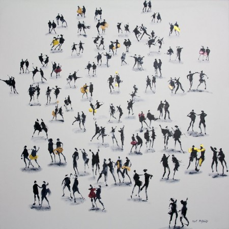 Inspired by the Strictly Come Dancing TV show, this original mono painting is a tour de force of vigour, life and movement with a subtle hint of colour.