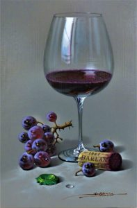 red-wine-grapes-cork-green-bottle-top