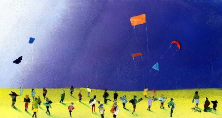 An artful impression of kite flying in the late evening complete with a crowd of enthusiastic onlookers. Looks like they may carry on all night.