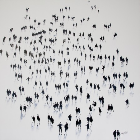 Limbering Up is  an original painting of a crowd of people created entirely from the imagination of British Visual Artist Neil McBride.  This painting forms part of an entire body of work which explores the effect that rehearsed spontaneity of brushwork can have on human perception and memory.