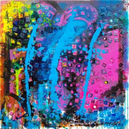 This abstract art canvas is informed by resurrection in all its forms. It is a bright, emotive painting with spiritual undertones. Beautifully textured with collage squares of canvas; The more you live with it the more you will see and love in it.