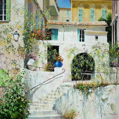 JOHN-DONALDSON---LA-MAISON-BLANCHE-an-old-farm-in-the-suburbs-near-the-Italian-Riviera-18-x-18-£2495-